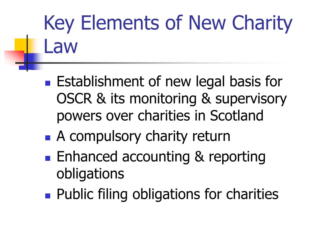 Key Elements of New Charity Law
