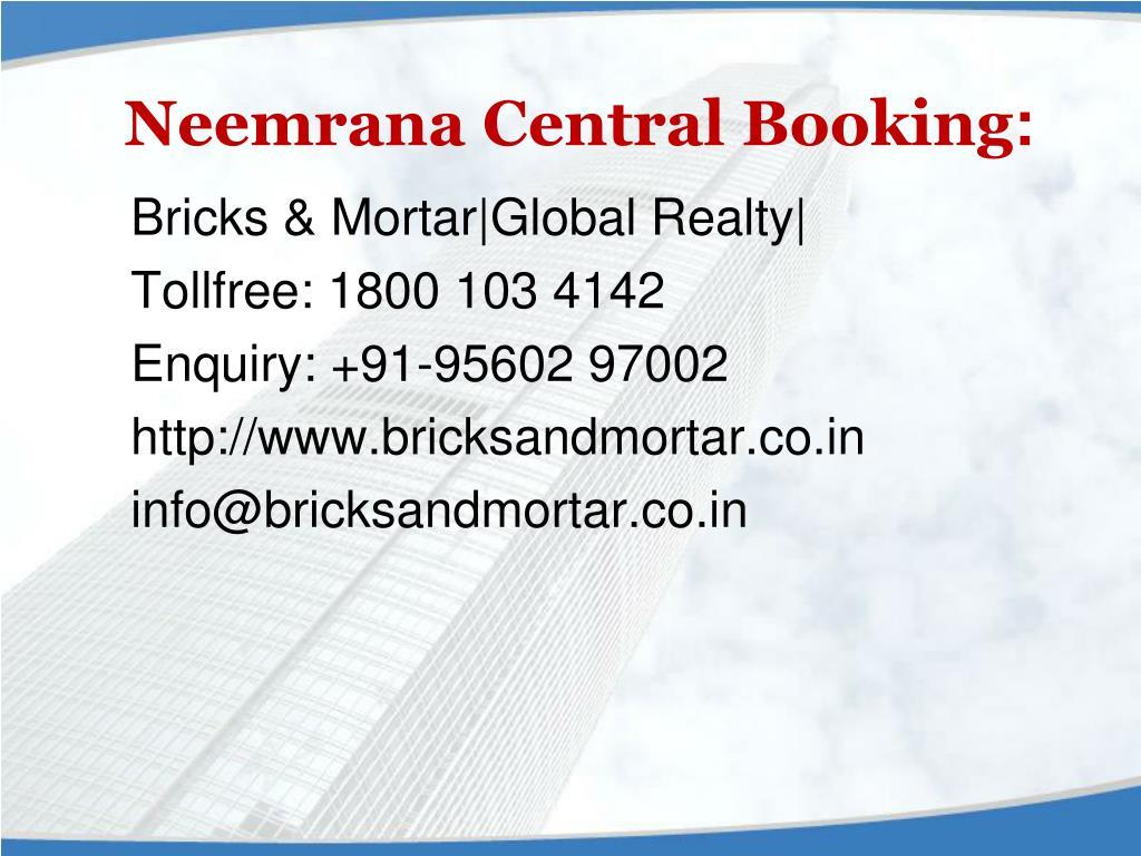 Neemrana Central Booking