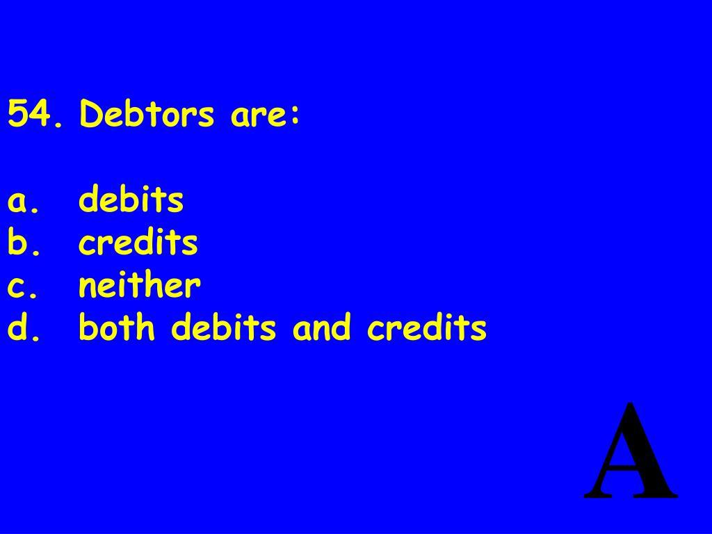 54.Debtors are: