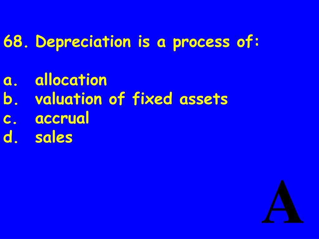 68.Depreciation is a process of: