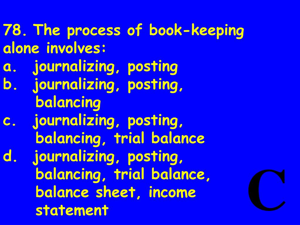 78.	The process of book-keeping