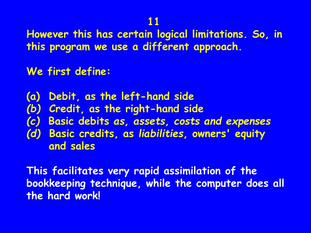 11                    However this has certain logical limitations. So, in this program we use a different approach.