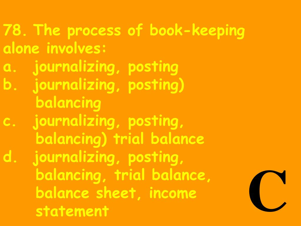 78.	The process of book-keeping alone involves: