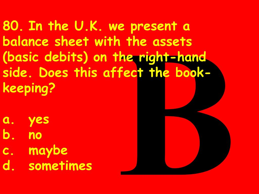 80.In the U.K. we present a balance sheet with the assets (basic debits) on the right-hand side. Does this affect the book-keeping?