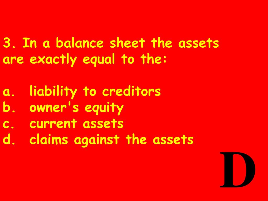 3. In a balance sheet the assets are exactly equal to the: