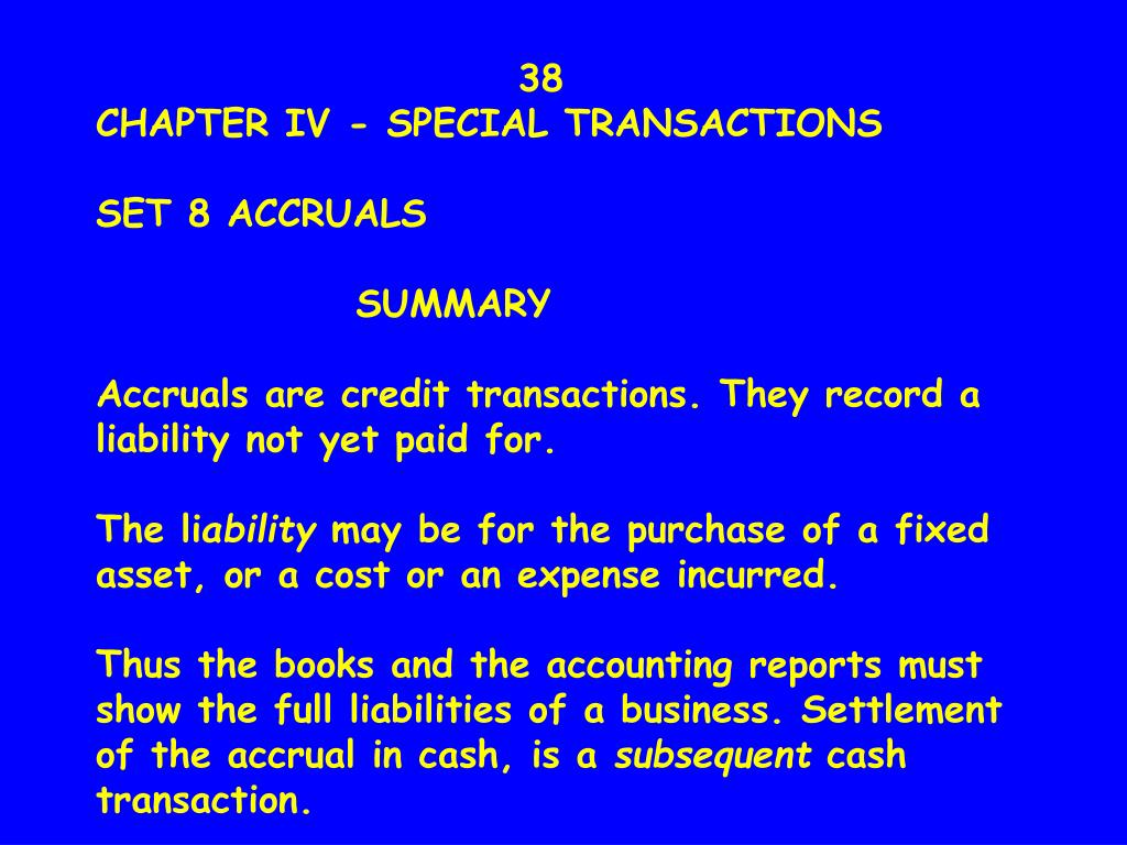 38                        CHAPTER IV - SPECIAL TRANSACTIONS