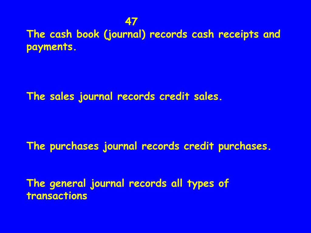 47                              The cash book (journal) records cash receipts and payments.
