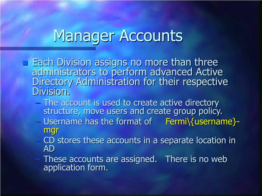 Manager Accounts
