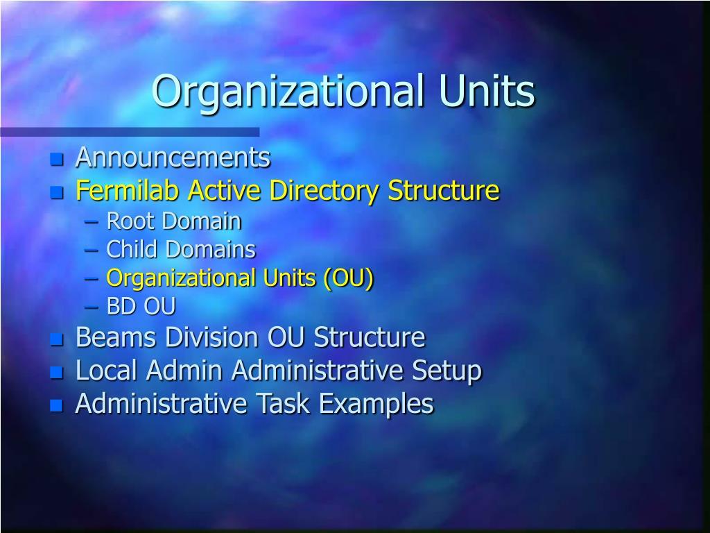 Organizational Units