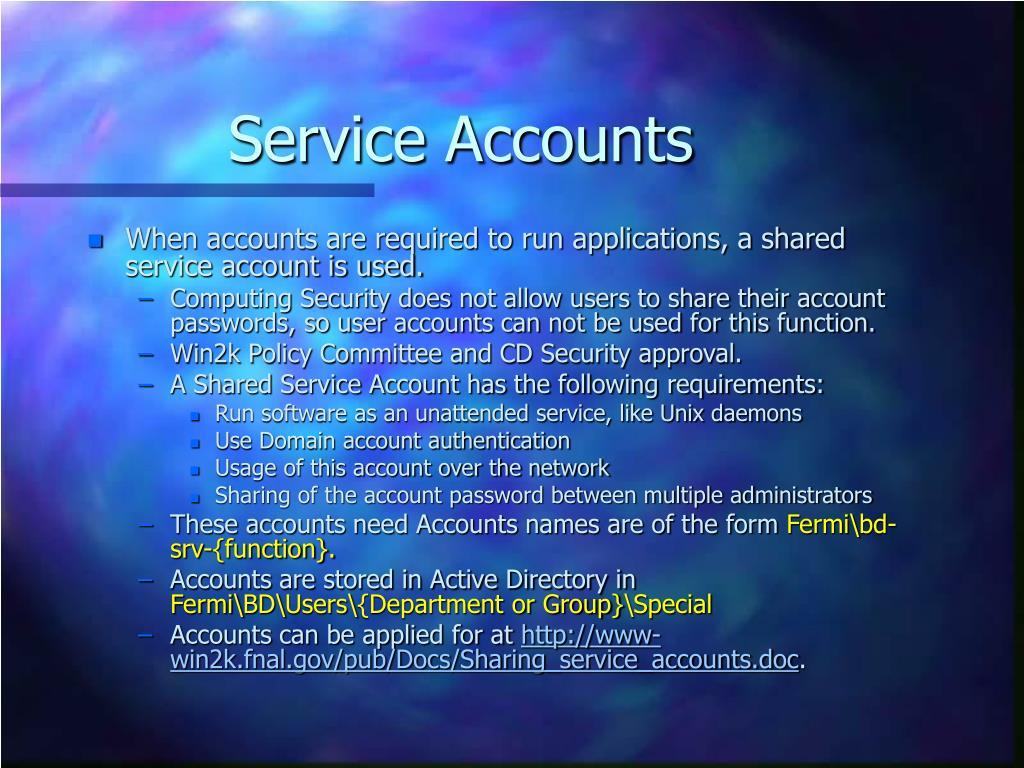 Service Accounts