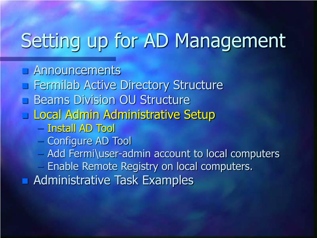 Setting up for AD Management
