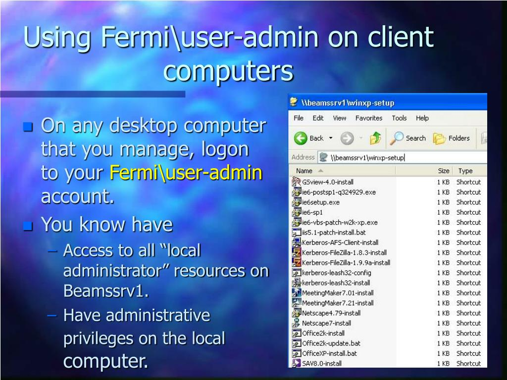 Using Fermi\user-admin on client computers