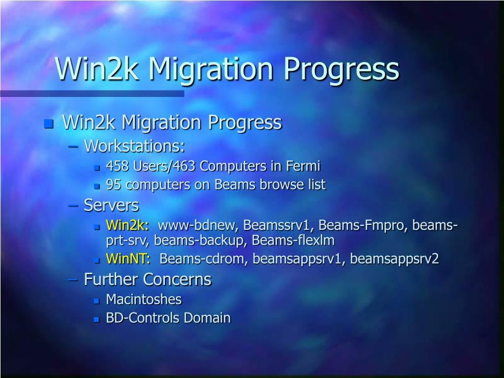 Win2k Migration Progress