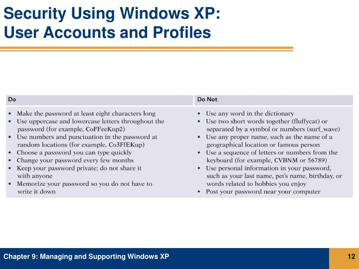Security Using Windows XP: