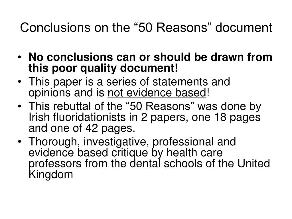 "Conclusions on the ""50 Reasons"" document"