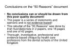 conclusions on the 50 reasons document