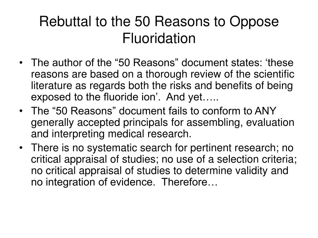 Rebuttal to the 50 Reasons to Oppose Fluoridation