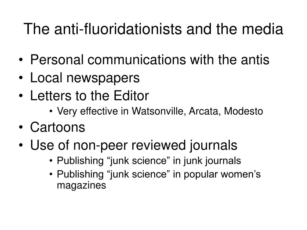 The anti-fluoridationists and the media