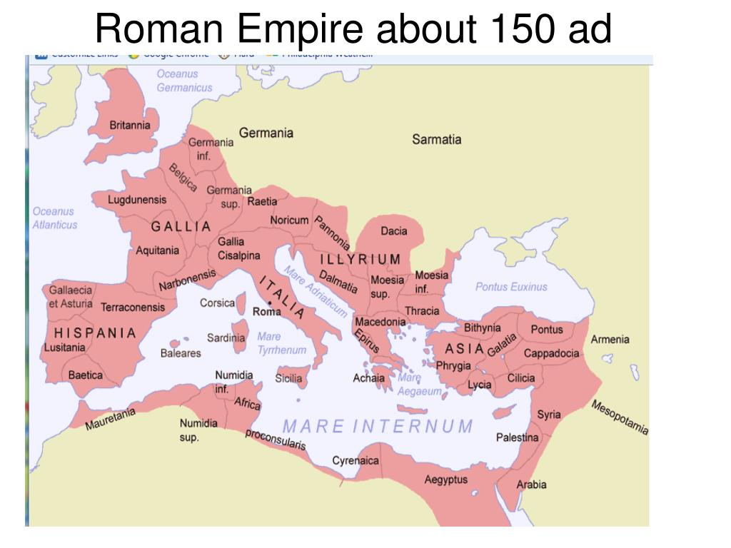 Roman Empire about 150 ad