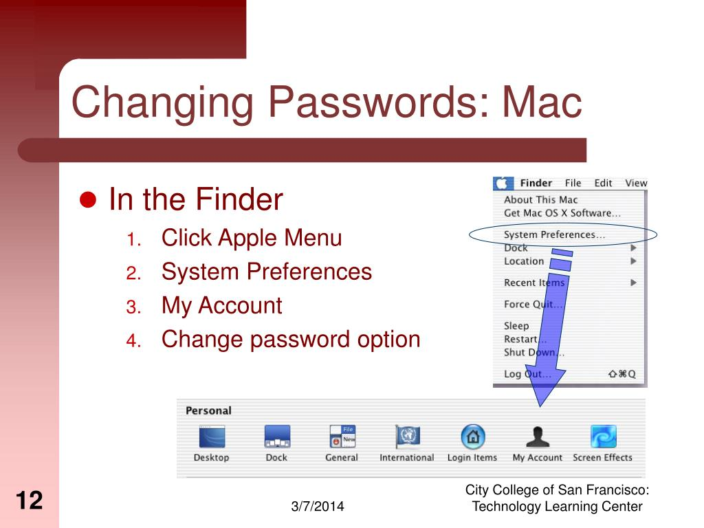 Changing Passwords: Mac