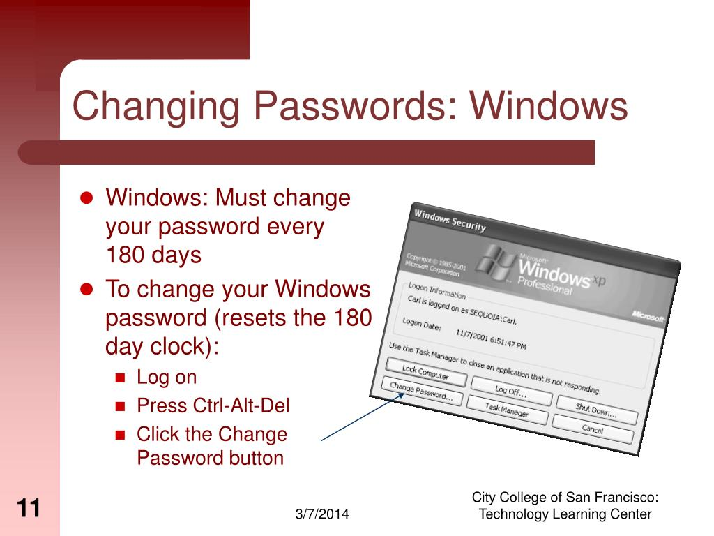 Changing Passwords: Windows