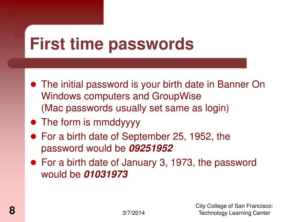 First time passwords