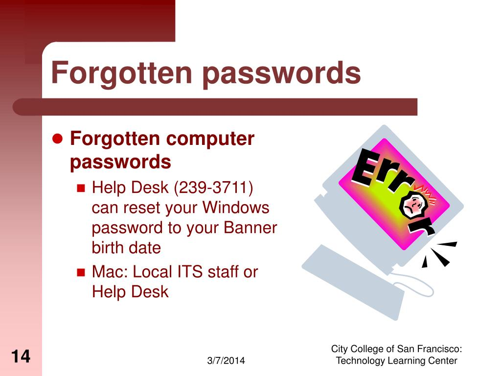 Forgotten passwords
