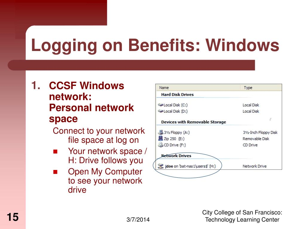 Logging on Benefits: Windows