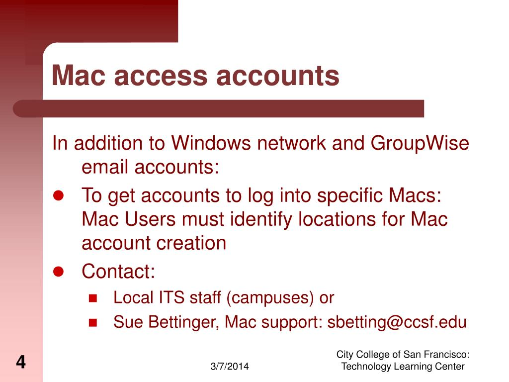 Mac access accounts