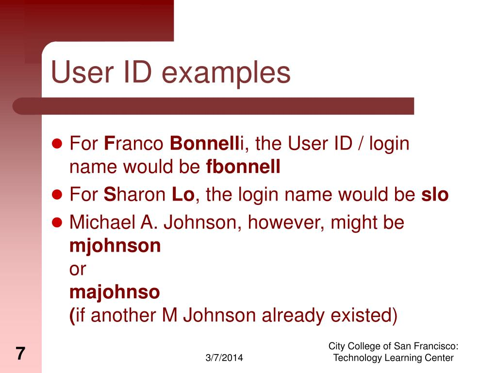 User ID examples