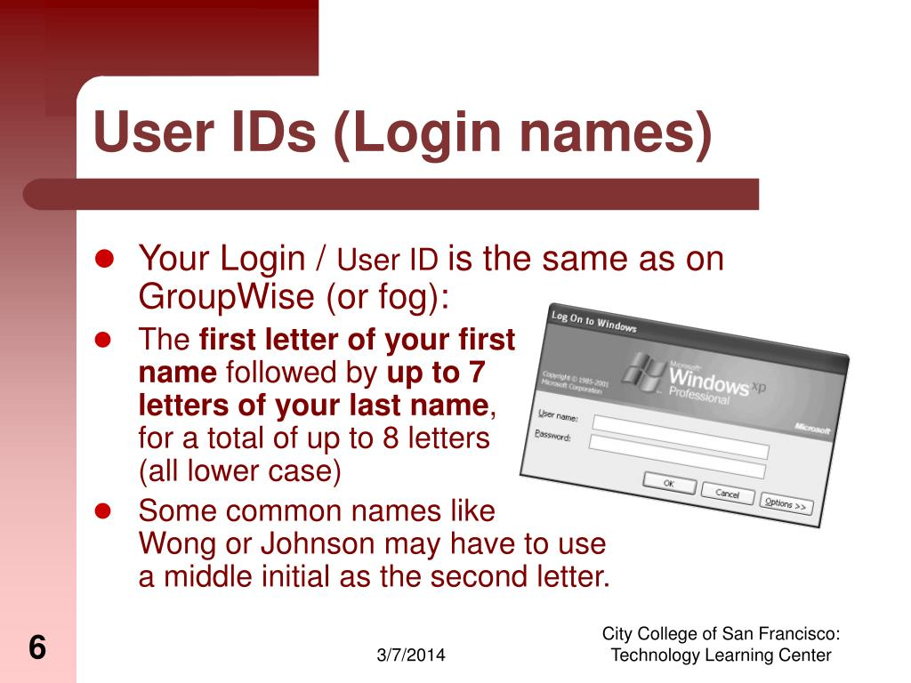 User IDs (Login names)