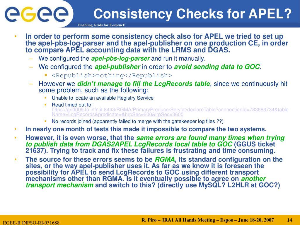 Consistency Checks for APEL?