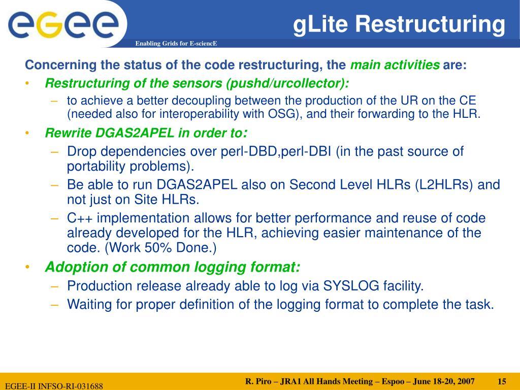 gLite Restructuring