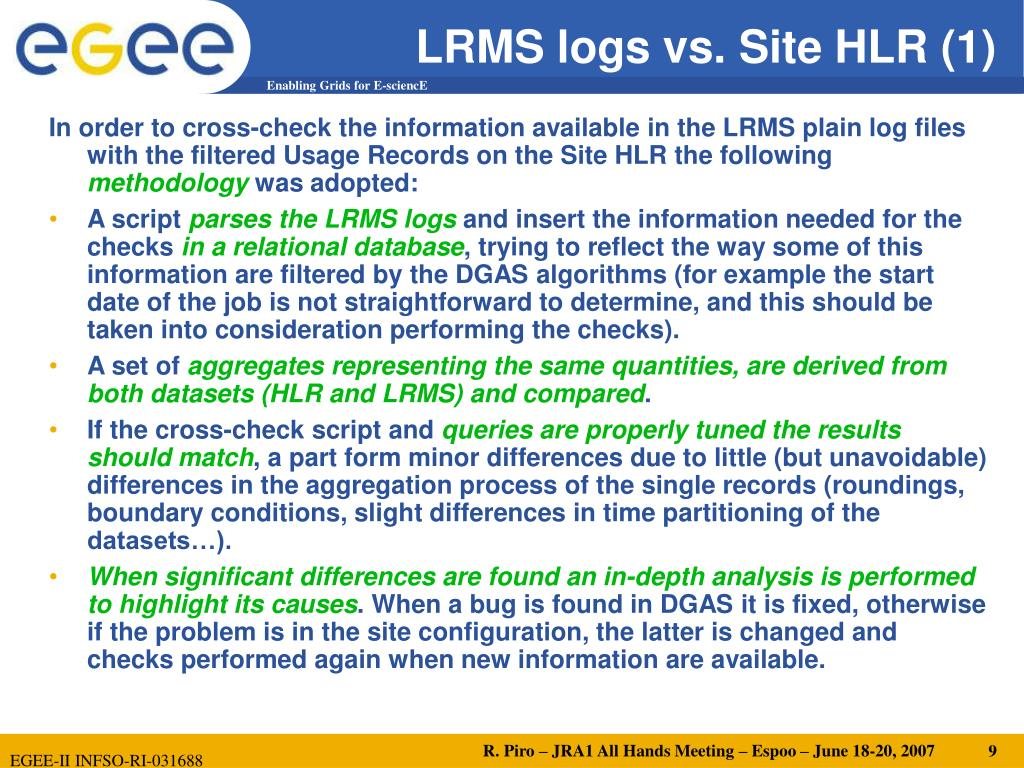 LRMS logs vs. Site HLR (1)