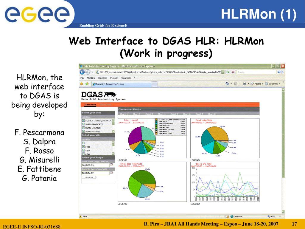 Web Interface to DGAS HLR: HLRMon