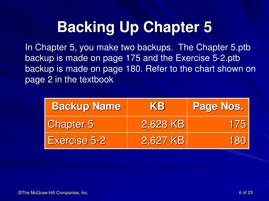 Backing Up Chapter 5