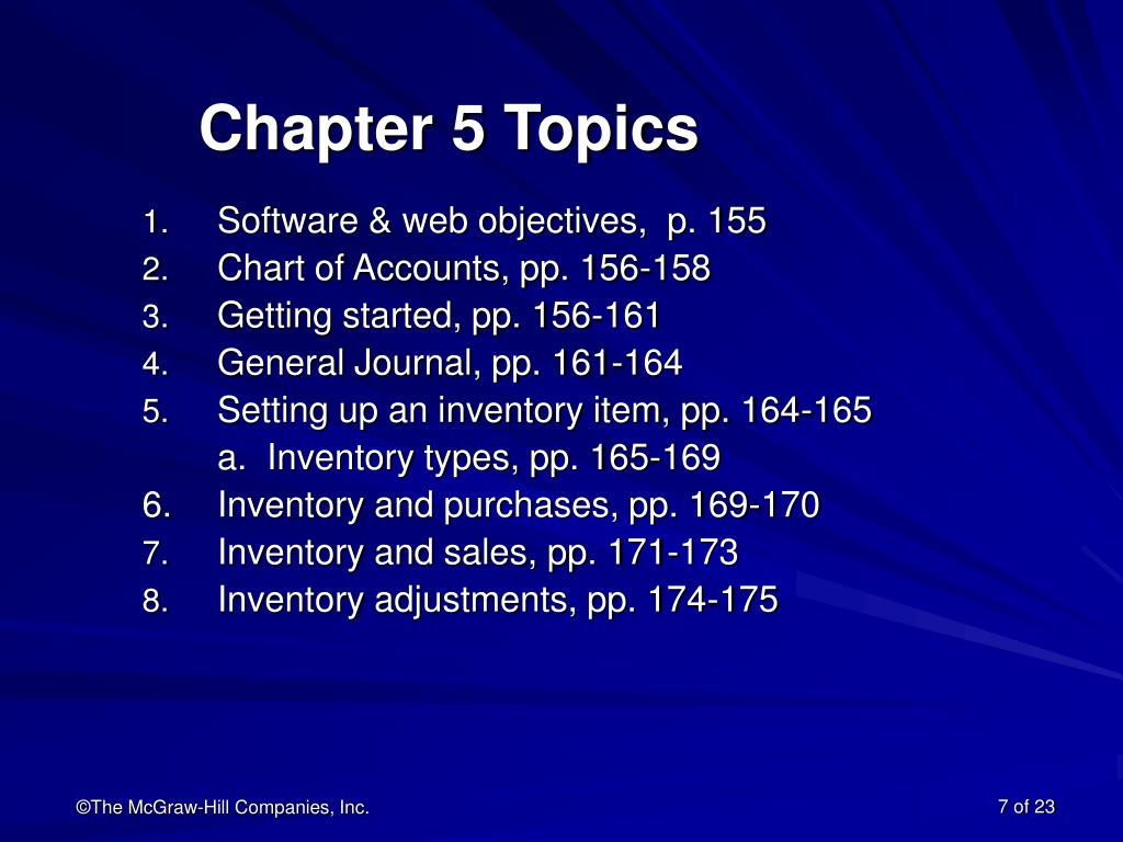 Chapter 5 Topics