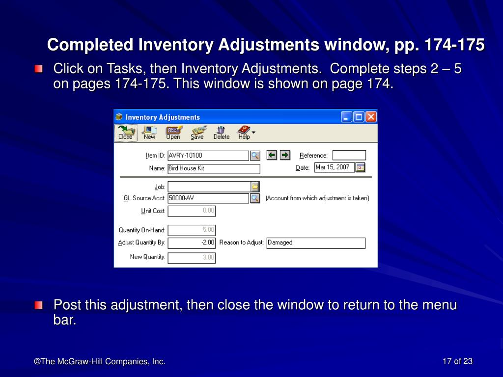 Completed Inventory Adjustments window, pp. 174-175