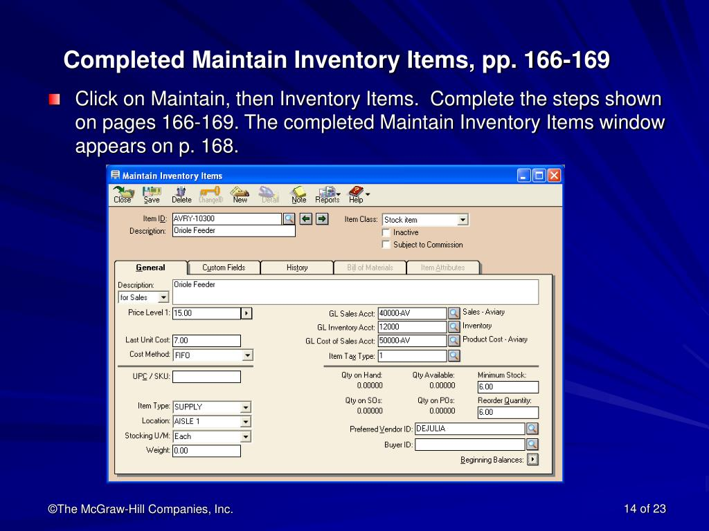 Completed Maintain Inventory Items, pp. 166-169