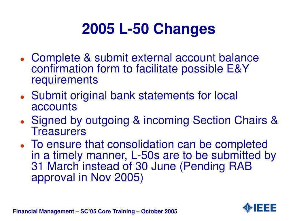 2005 L-50 Changes