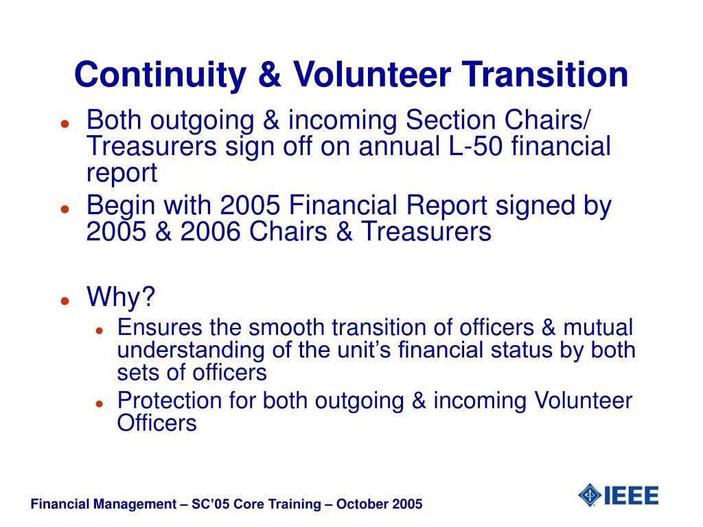 Continuity & Volunteer Transition