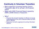continuity volunteer transition