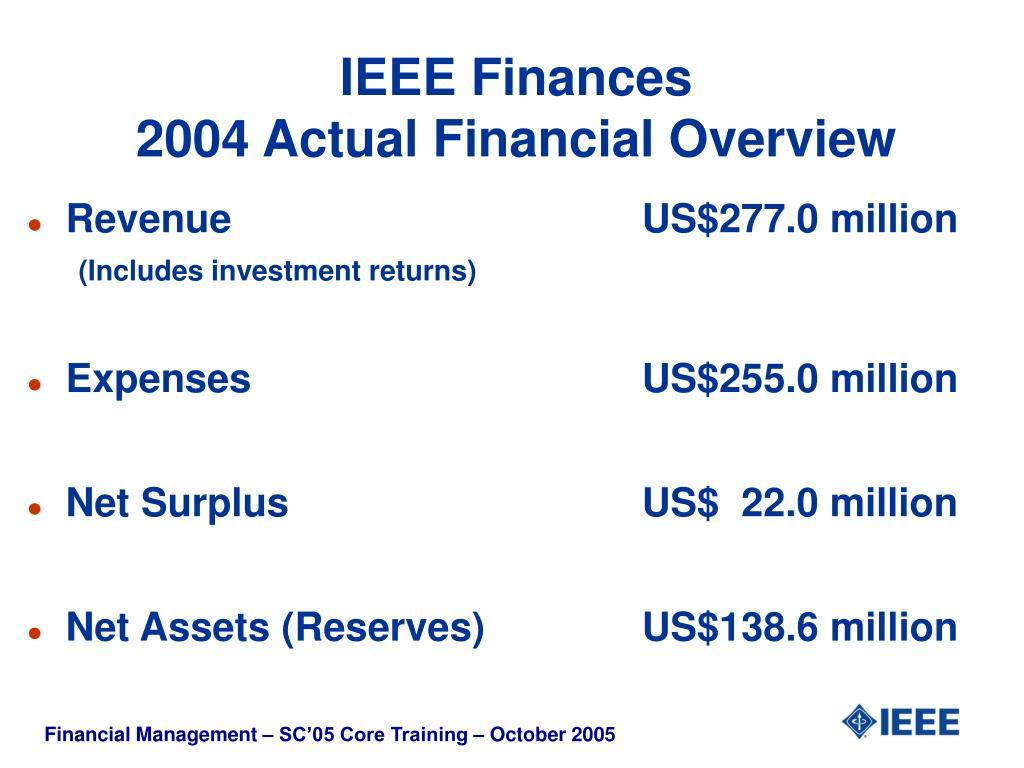 IEEE Finances