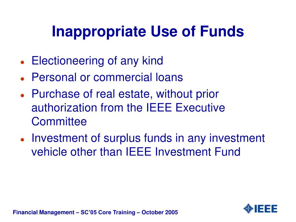 Inappropriate Use of Funds
