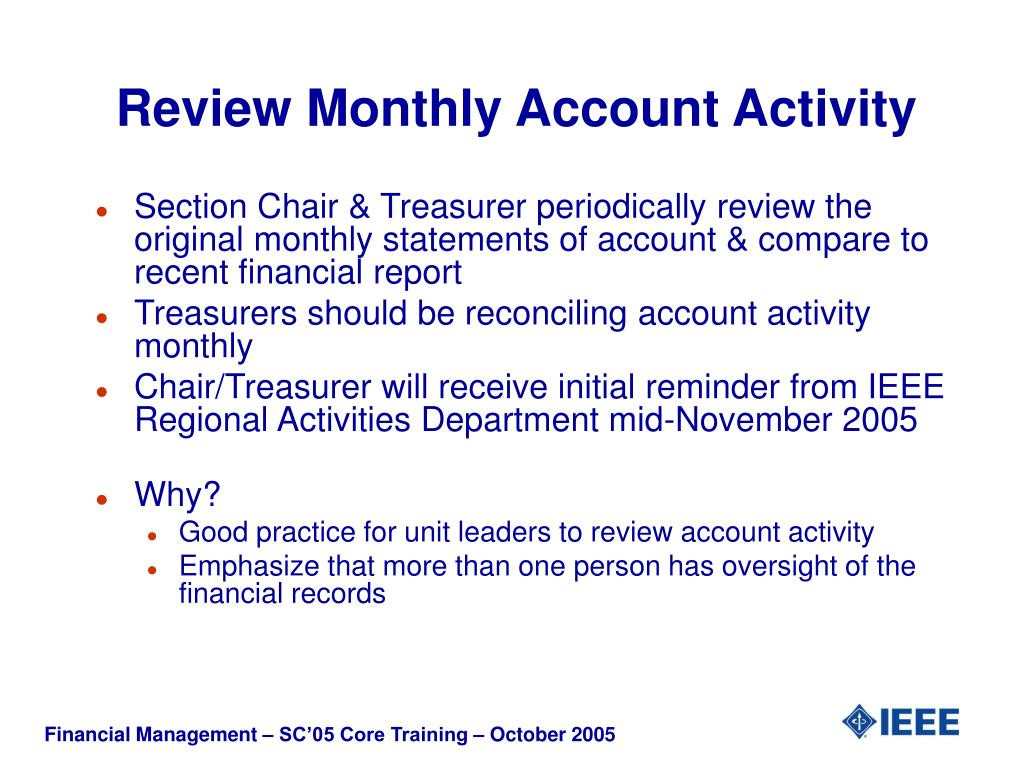Review Monthly Account Activity
