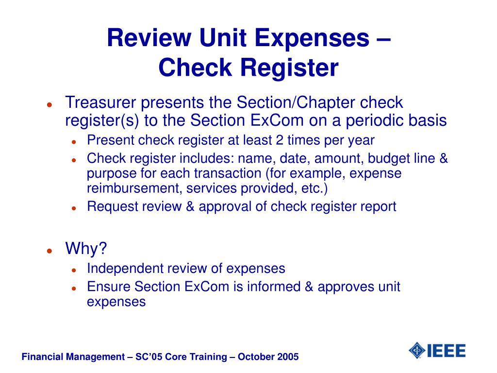 Review Unit Expenses –