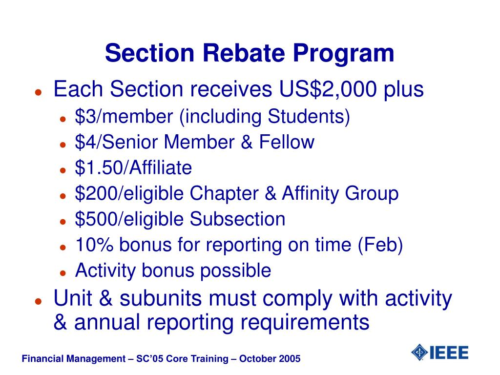 Section Rebate Program