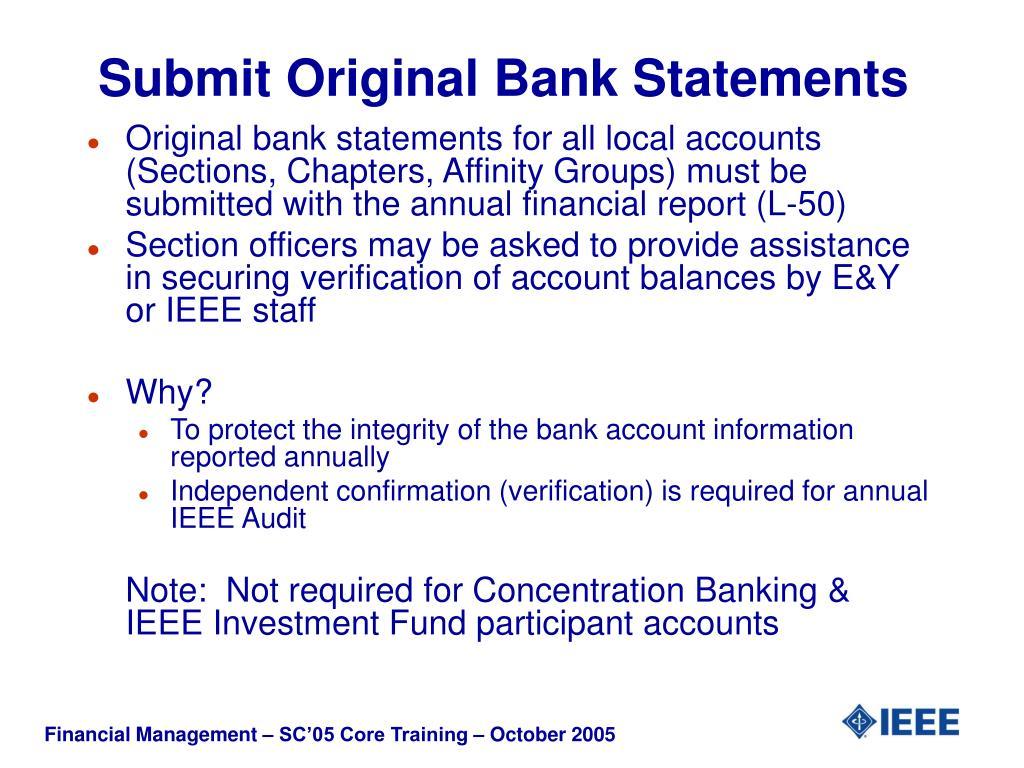 Submit Original Bank Statements