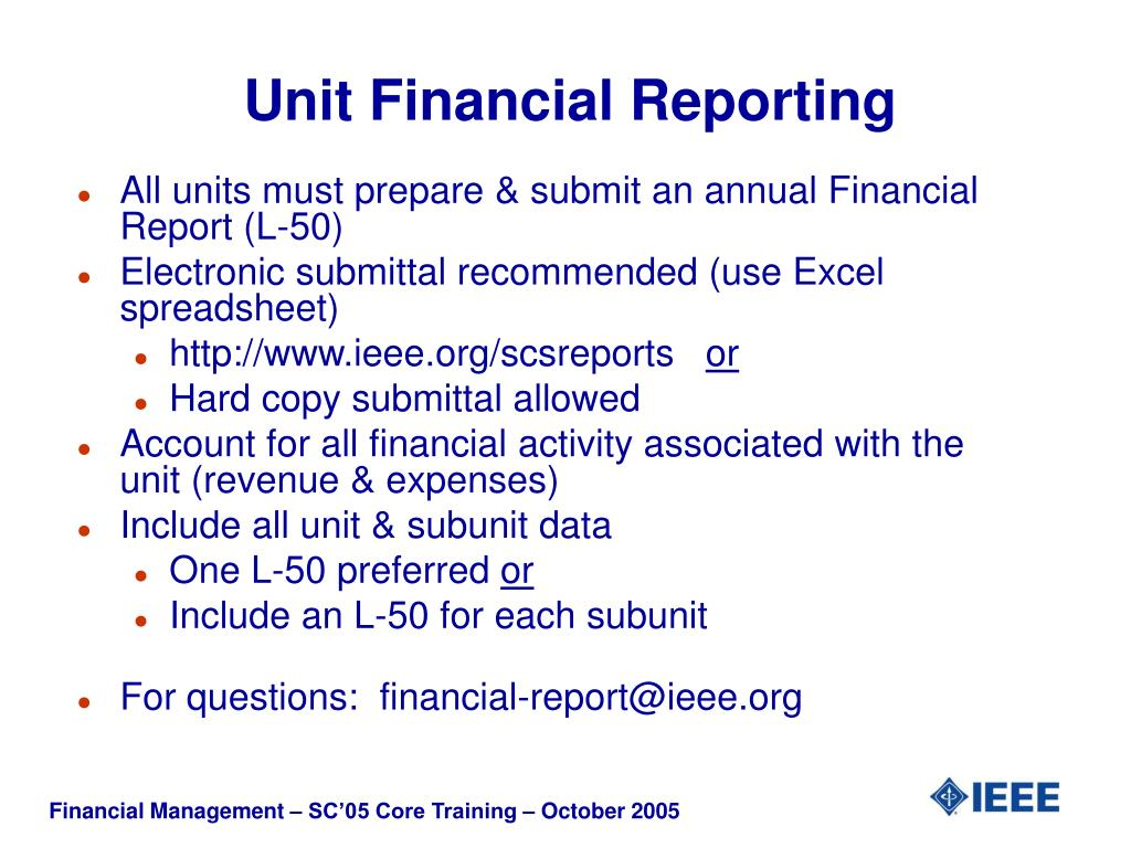 Unit Financial Reporting