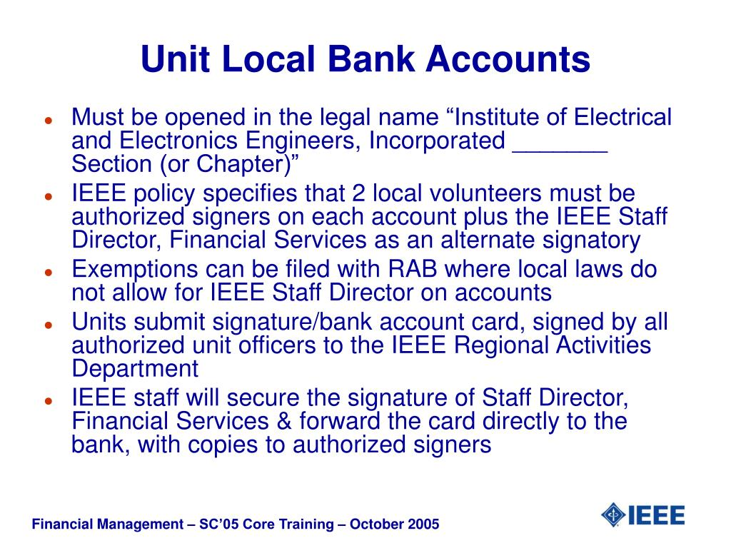 Unit Local Bank Accounts